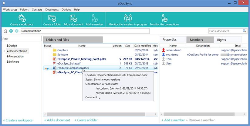 Detect Conflicts via secured file sync and private file sharing