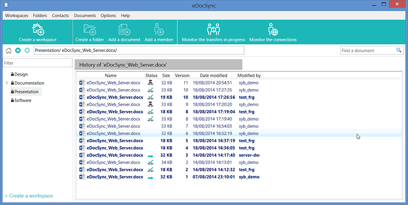 Save revisions securly and private via private file sync and sharing